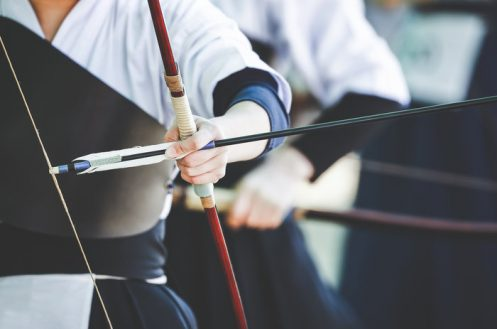 Close up image of a bow and arrow of a samurai archer.